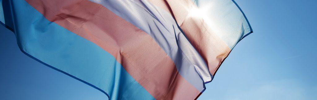 transgender pride flag waving on the blue sky